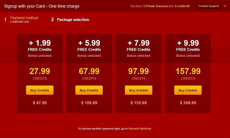 Credit bundles available to purchase with credit card on LiveJasmin.com